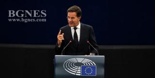Марк Рюте говори пред евродепутатите в Страсбург. Снимка: ЕПА/БГНЕСЕС трябва