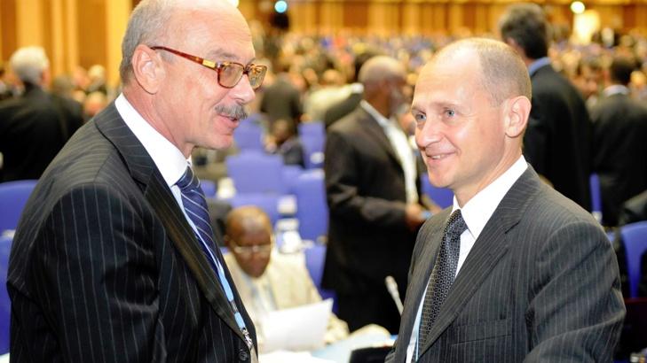 Снимка БГНЕС Владимир Воронков (вляво)Генералният секретар на ООН Антонио Гутериш